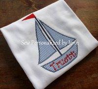 Boys Seersucker Sailboat Appliqued Shirt - Short Sleeve