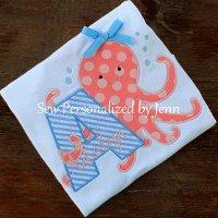 Girls Octopus Alphabet Applique Shirt - Short Sleeve